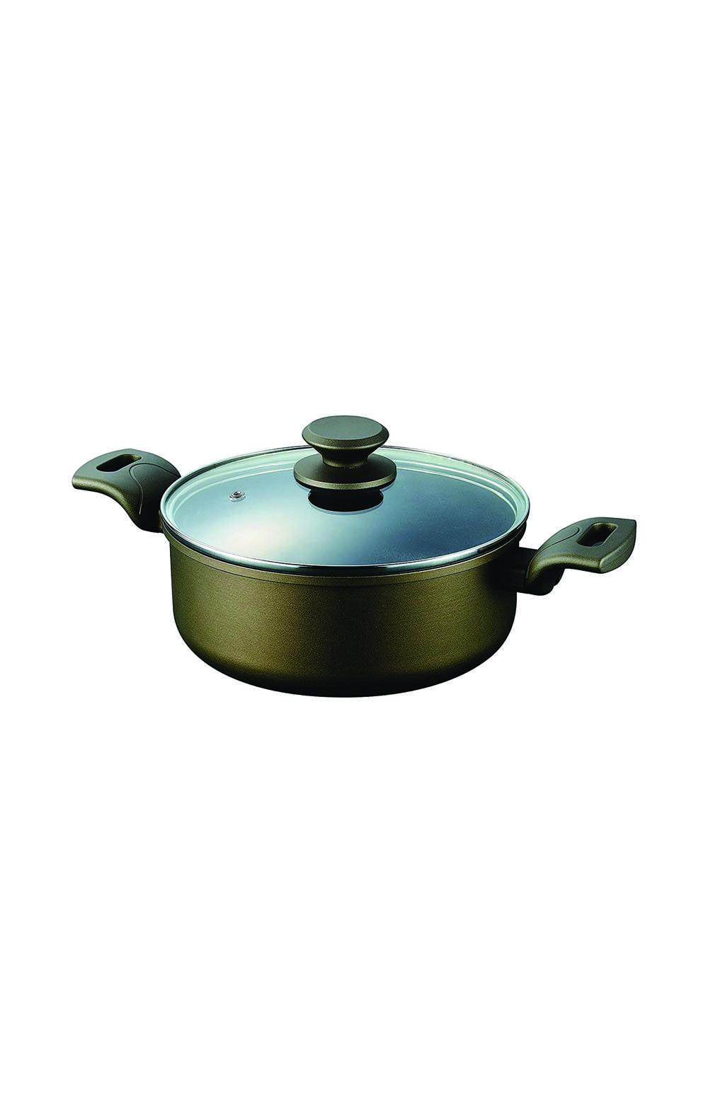 Pearl Metal HB-5512  Double-Handled Pot 20 cm قدر مع غطاء بايركس