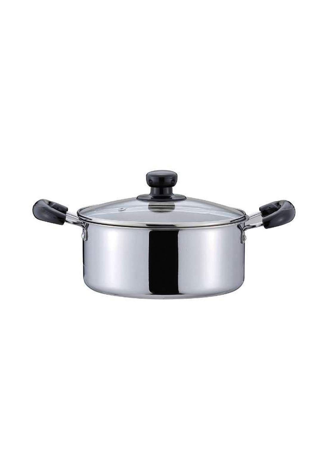Pearl metal HB-5098 Alclad Aluminum 3-layer steel Two-handed pan with glass lid 20cm قدر مع غطاء زجاجي