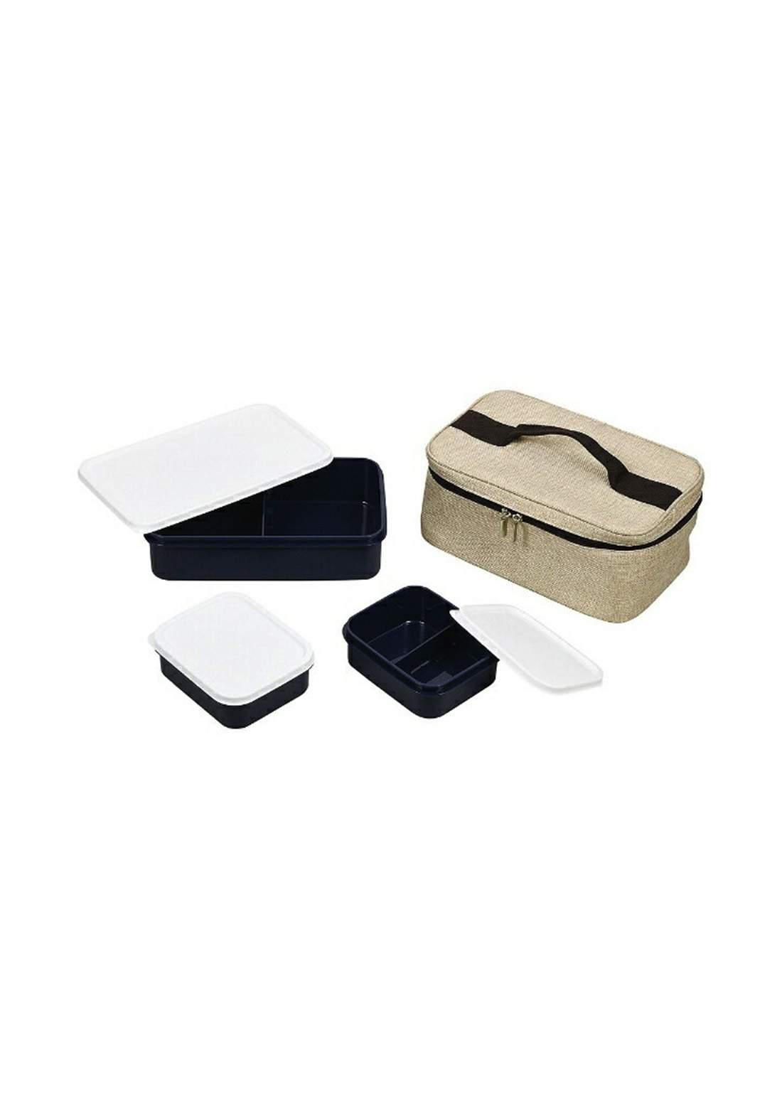 Pearl Metal  D-6374 Bento Box, Denim  Lunch Box Set with Bag صندوق طعام مع حقيبة