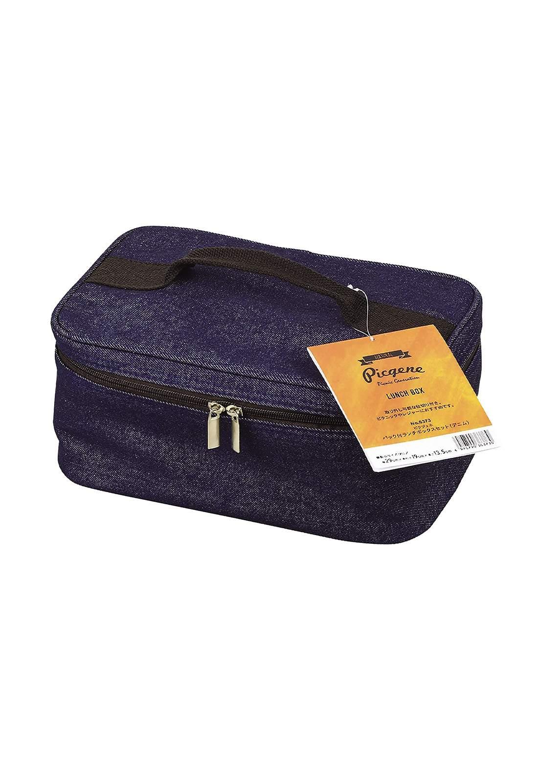 Pearl Metal D-6373 Bento Box, Denim  Lunch Box Set with Bag  صندوق طعام مع حقيبة