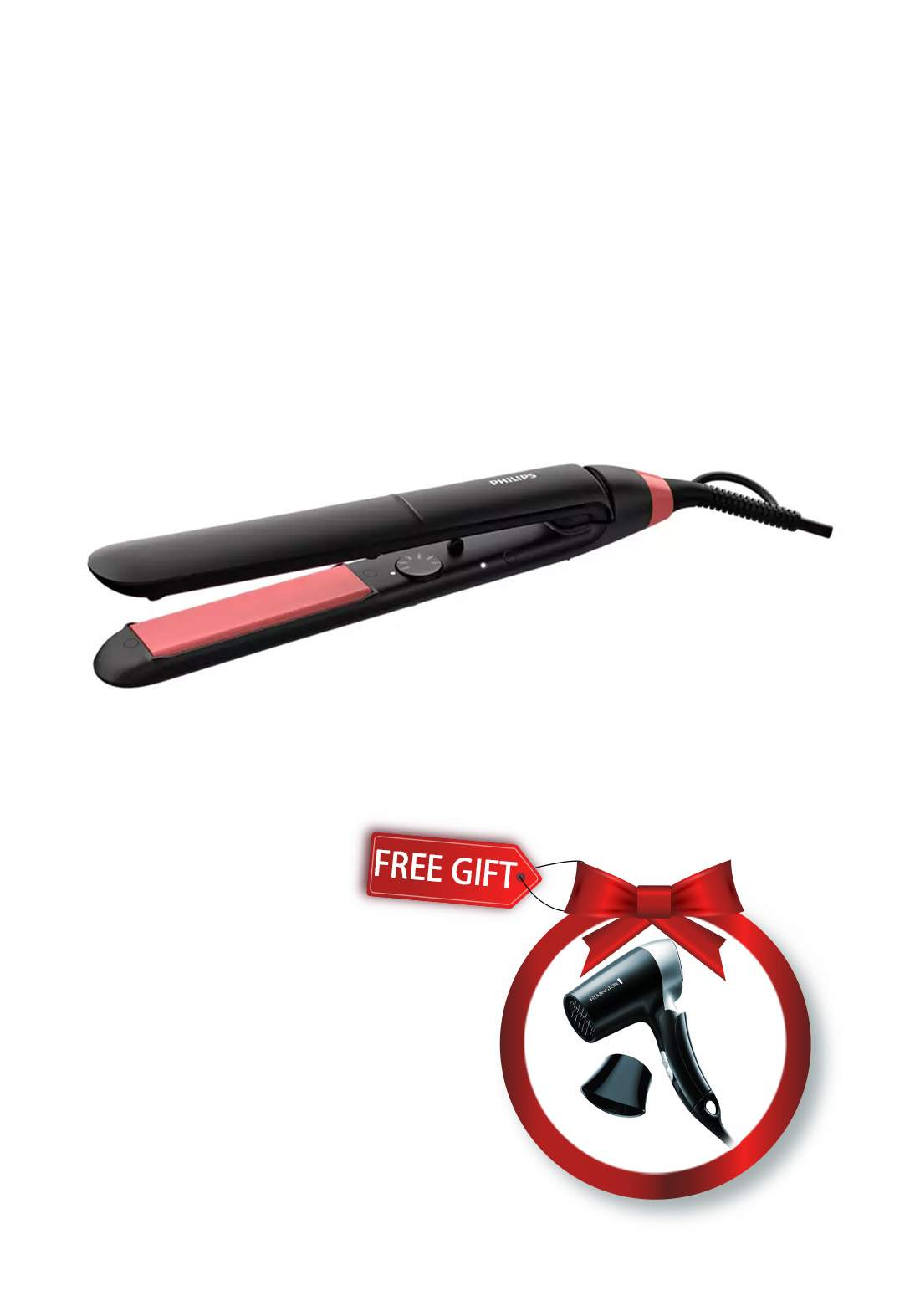 Philips BHS376 StraightCare Essential ThermoProtect straightener and Remington D2400 On The Go Travel Dryer عرض أداة تمليس + مجفف للشعر