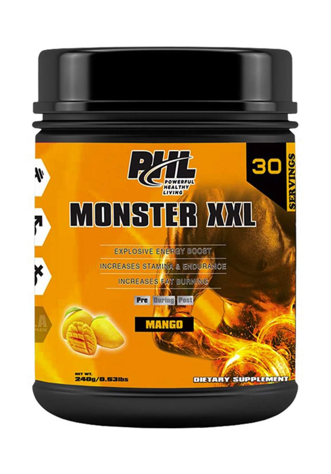 PHL Pre Workout (Monster XXL) PWD Mango 30 Servings 240 g  مكمل غذائي