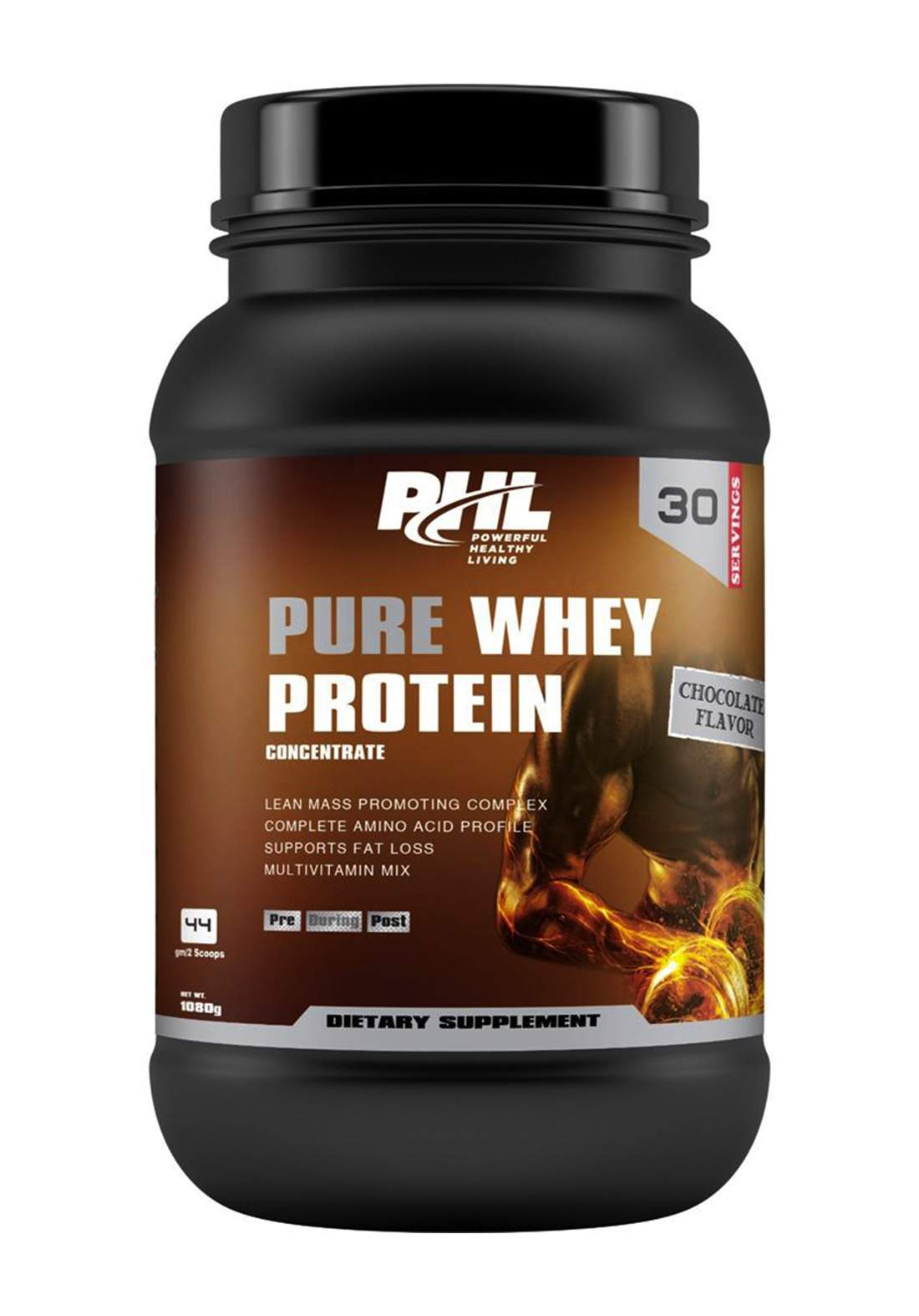 Phl Pure Whey Protein Chocolate 30 Servings 1080 g بروتين مكمل غذائي