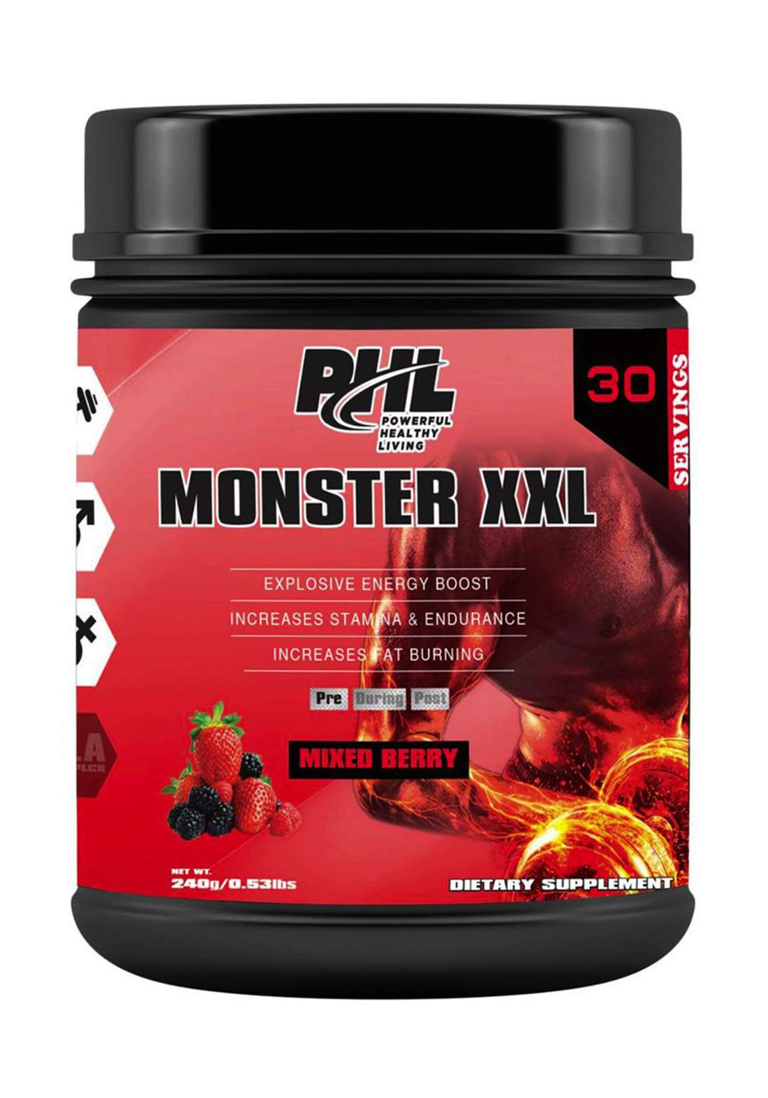 PHL Pre Workout (Monster XXL) PWD Mixed Berrry 30 Servings 240 g  مكمل غذائي