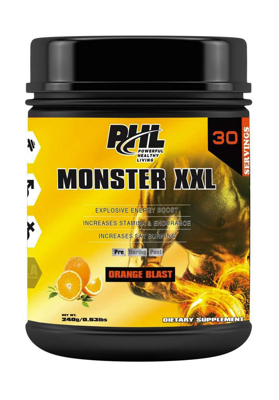 PHL Pre Workout (Monster XXL) PWD Orange 30 Servings 240 g  مكمل غذائي