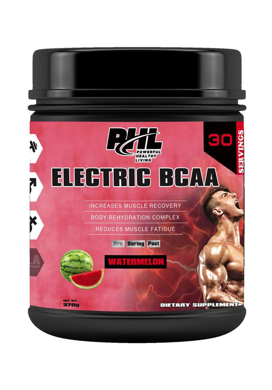 PHL Electric Bcaa Pro-Series Pwd Watermelon 30servings 270g مكمل غذائي