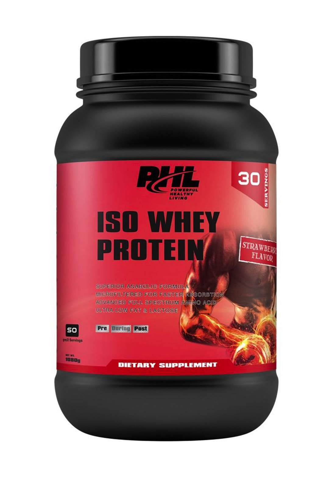 PHL Iso Whey Protein Strawberry 1080 g 30 servings مسحوق بروتين