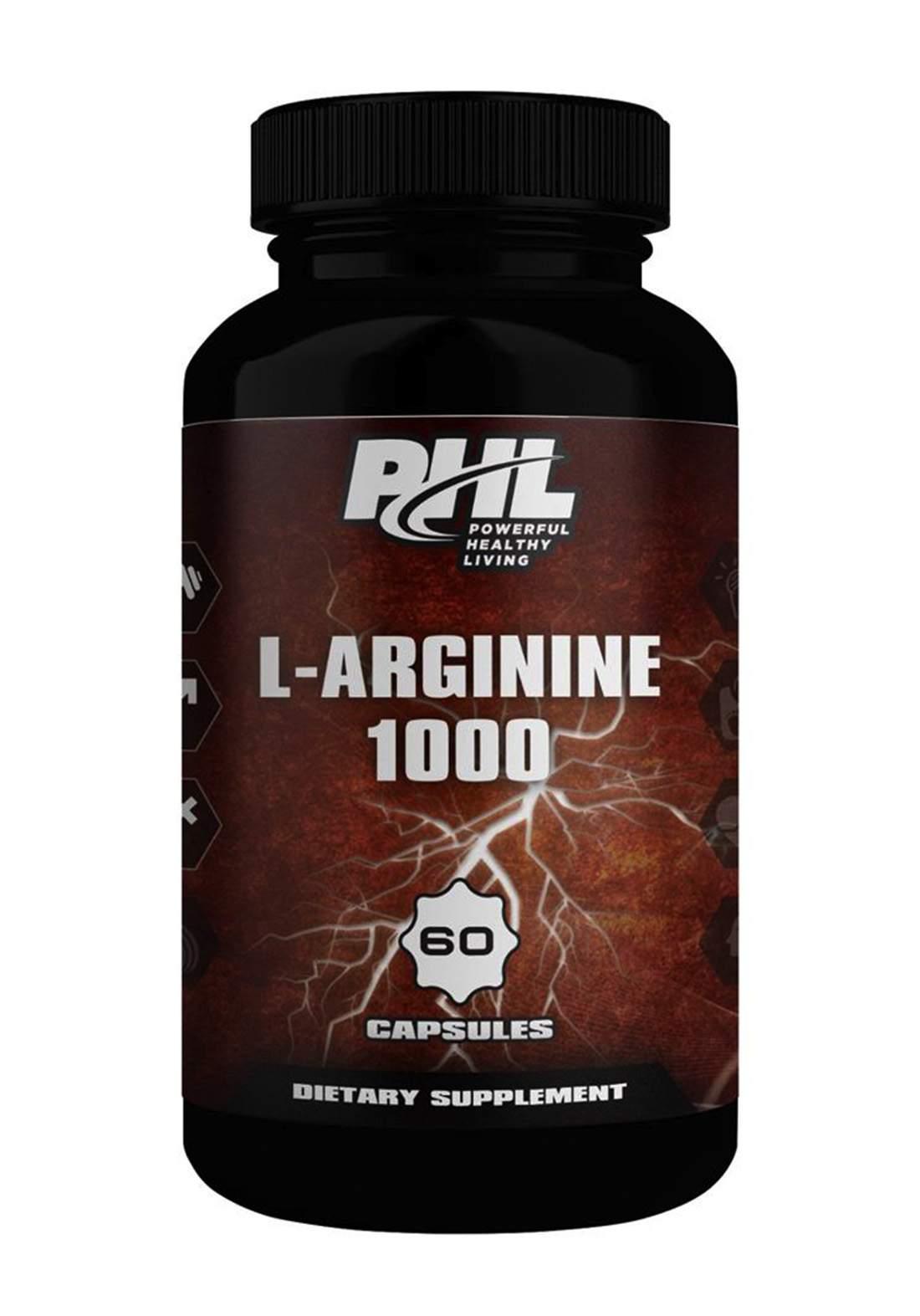 PHL L-Arginine 1000 60 Capsules مكمل غذائي