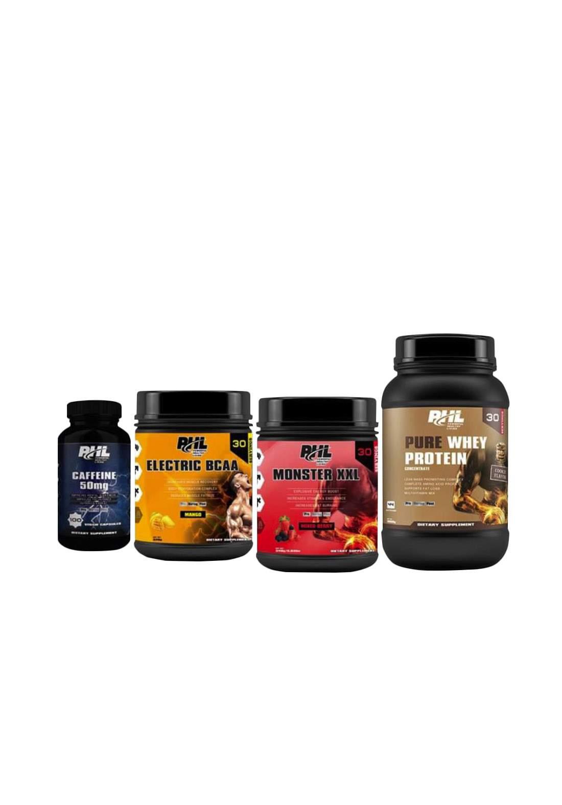 PHL Food Supplements package 4pcs (pure whey protein + moster xxl + electric bcaa + caffeine ) مجموعة المكملات الغذائية