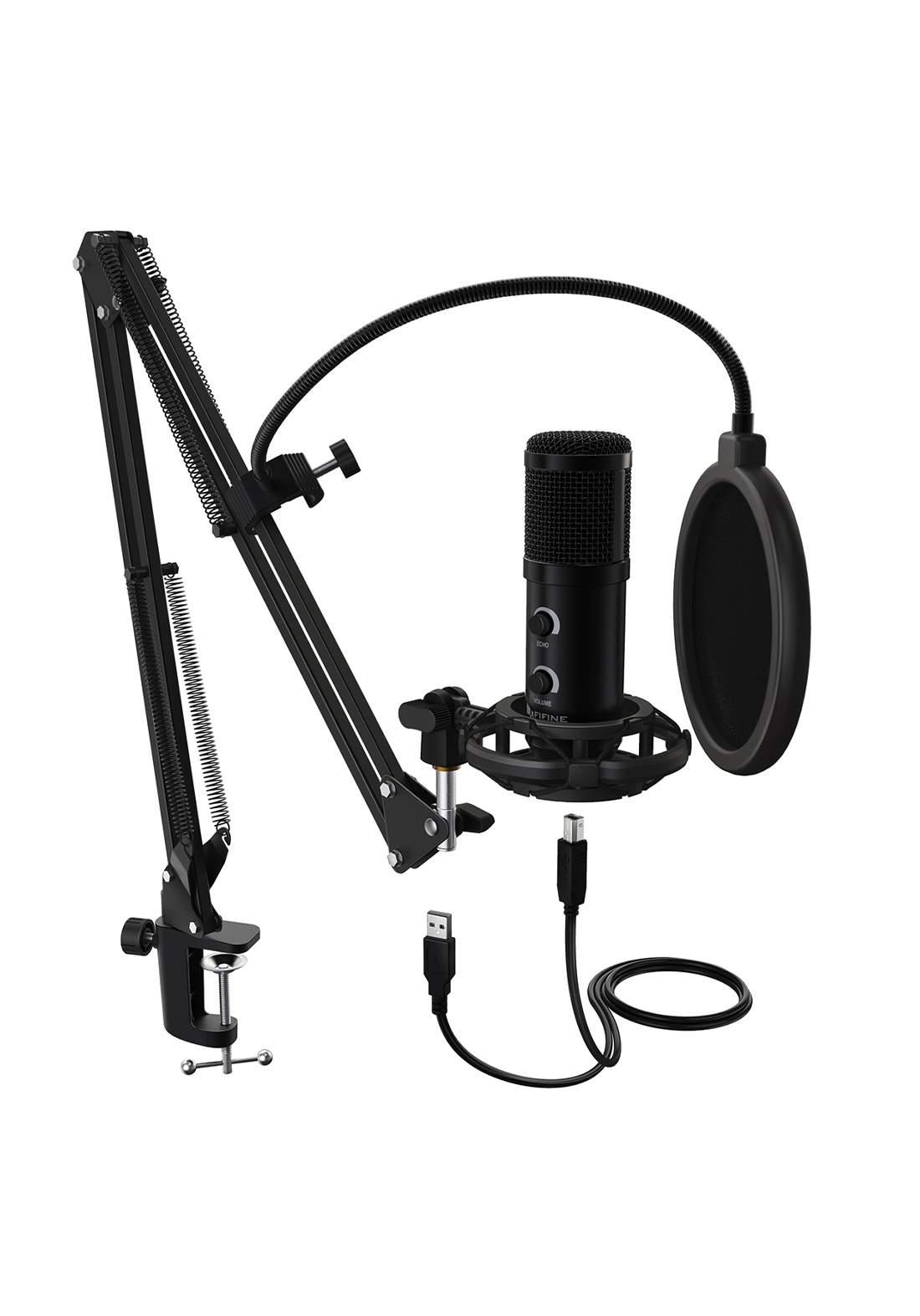 Fifine T058B USB Condenser Microphone  - Black  مايكروفون