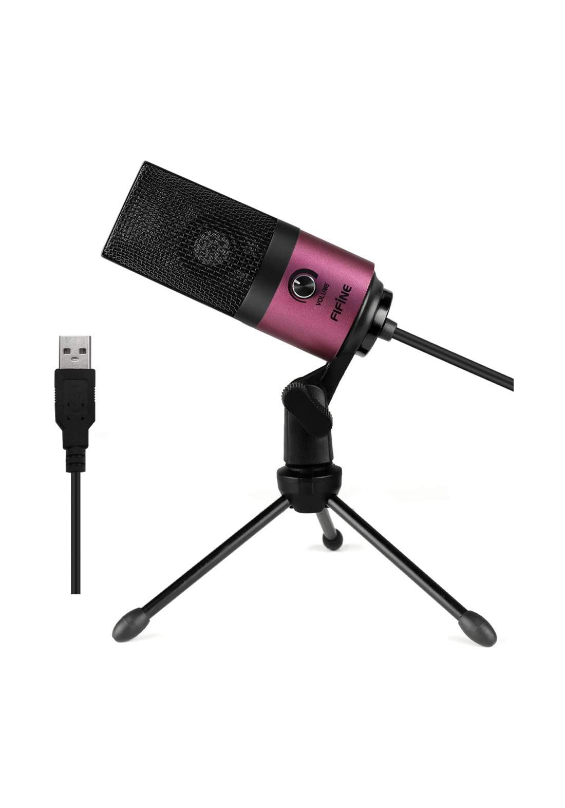 Fifine K669 USB Wired Microphone with Recording Function for PC Laptop - Pink مايكروفون