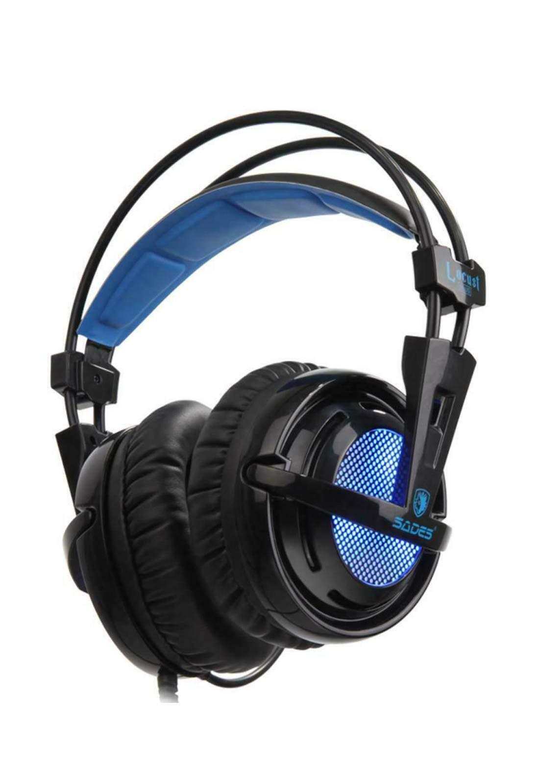 Sades Locust Plus Gaming Headset 7.1 Virtual Surround Sound Headset - Blue سماعة سلكية