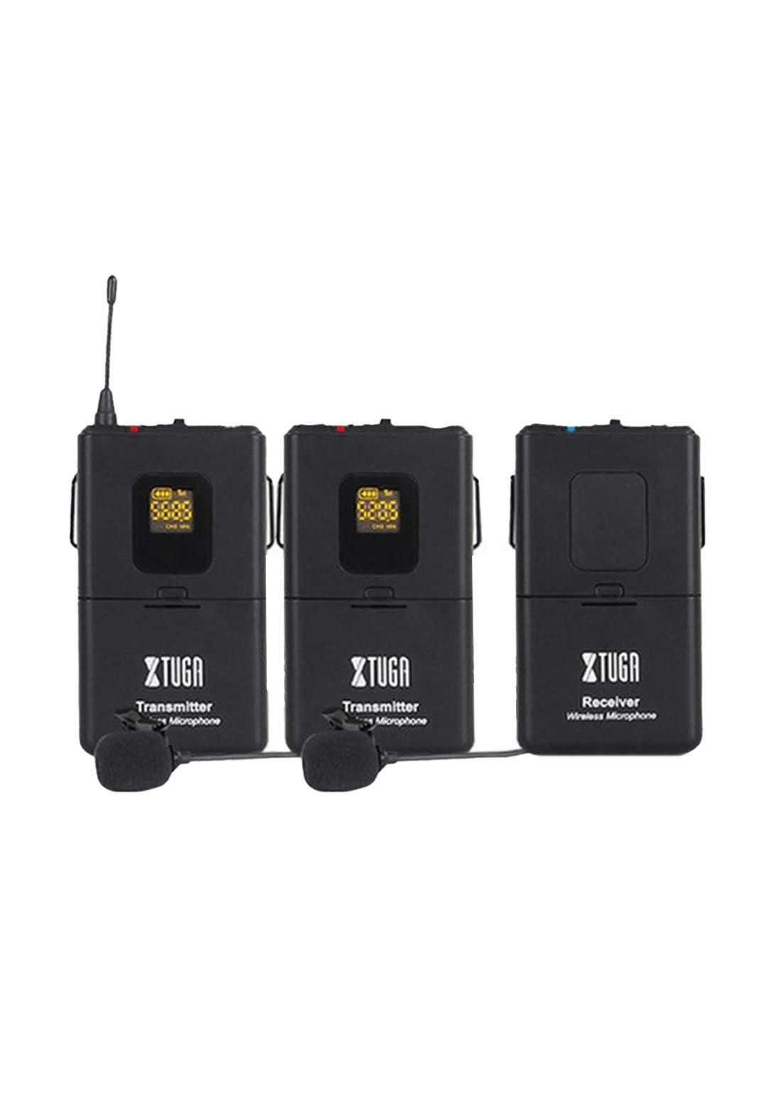 XTUGA CM4 UHF Dual Wireless Lavalier Microphone - Black مايكروفون مزدوج