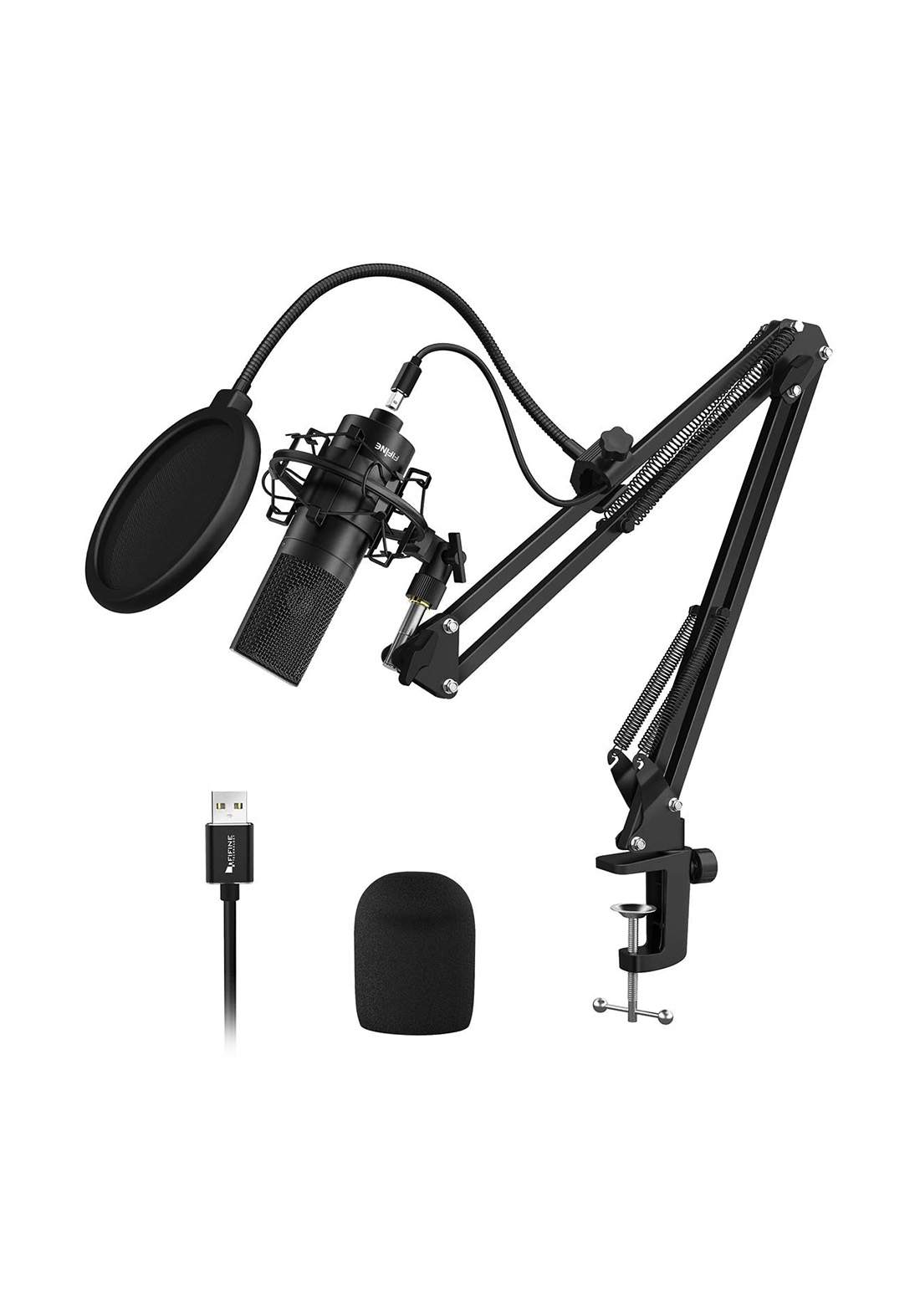 FIFINE  K780 Factory Professional Recording USB Microphone With Arm Stand - Black مايكرفون
