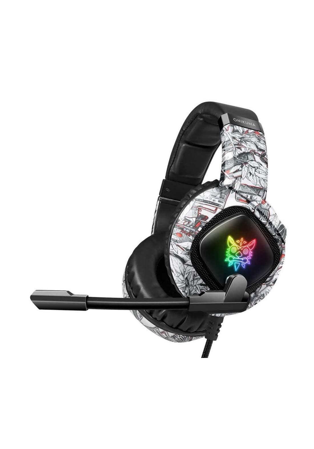 Onikuma K19 3.5mm Jack Stereo Gaming Headset Headphone LED Light - Black  سماعة رأس
