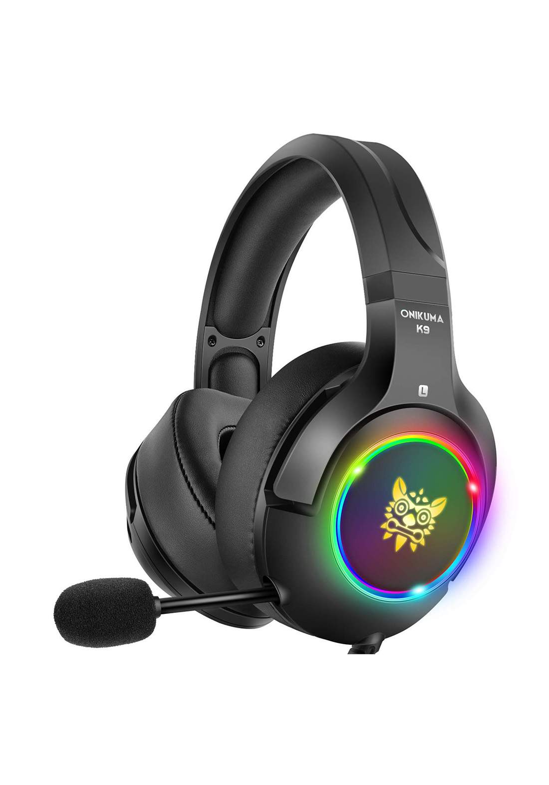 Onikuma K9 RGB Gaming Headset3.5mm Jack Stereo Noise-cancelling Microphone - Black  سماعة رأس