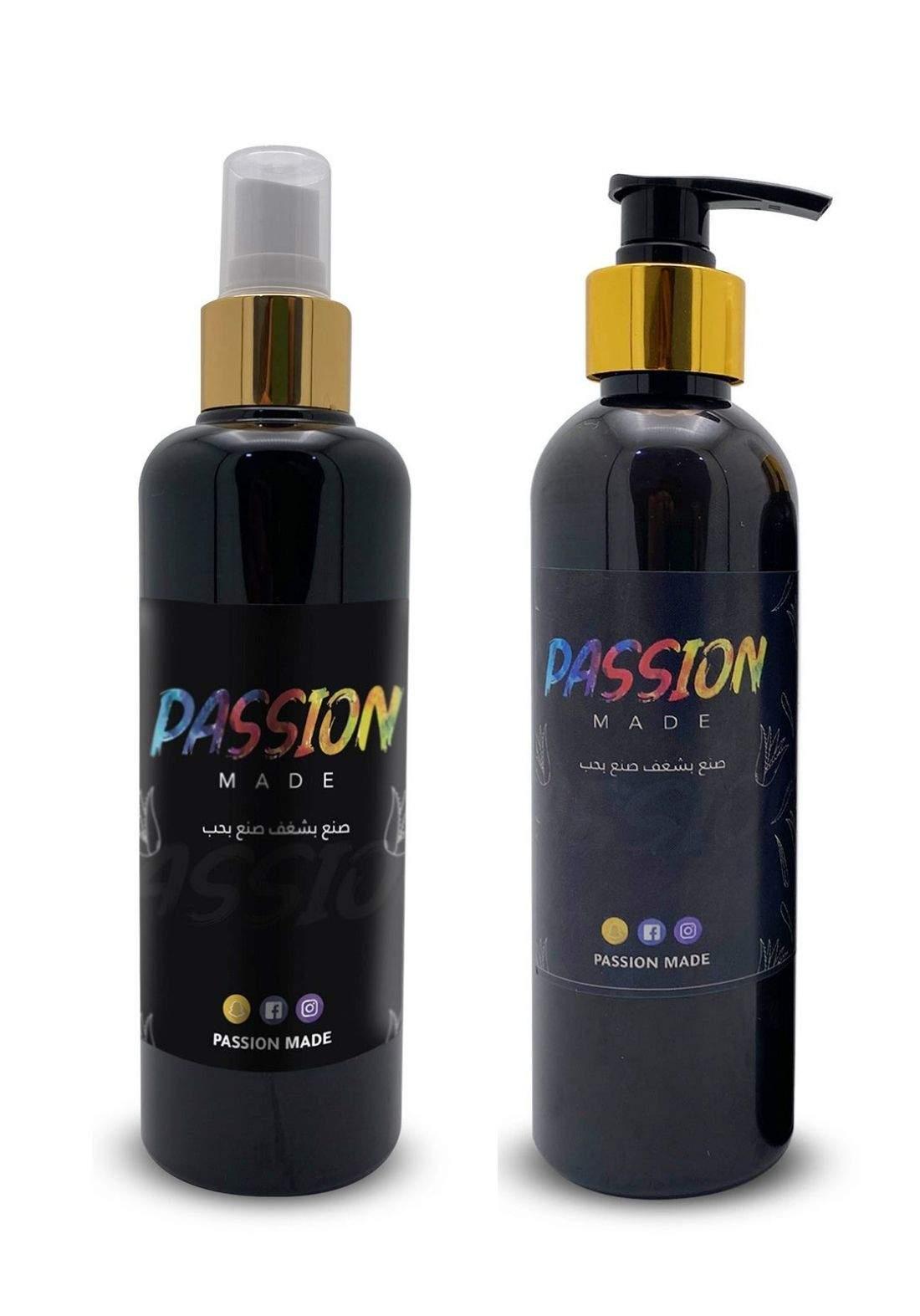 Passion Made Set of Shampoo & Tonic With Aloe Vera Extract And Natural Oils مجموعة باشن ميد لعلاج تساقط الشعر