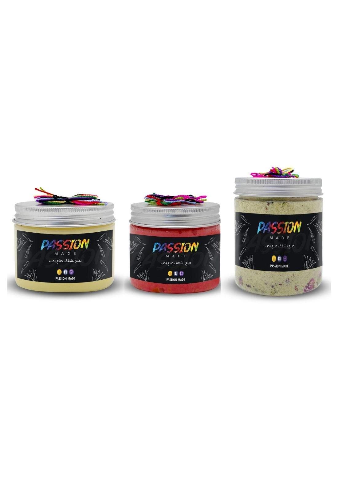 Passion Set of Foot Cream & Effervescent Foot Salts & Heavy Medicated Foot Moisturizer مجموعة العناية بالقدم