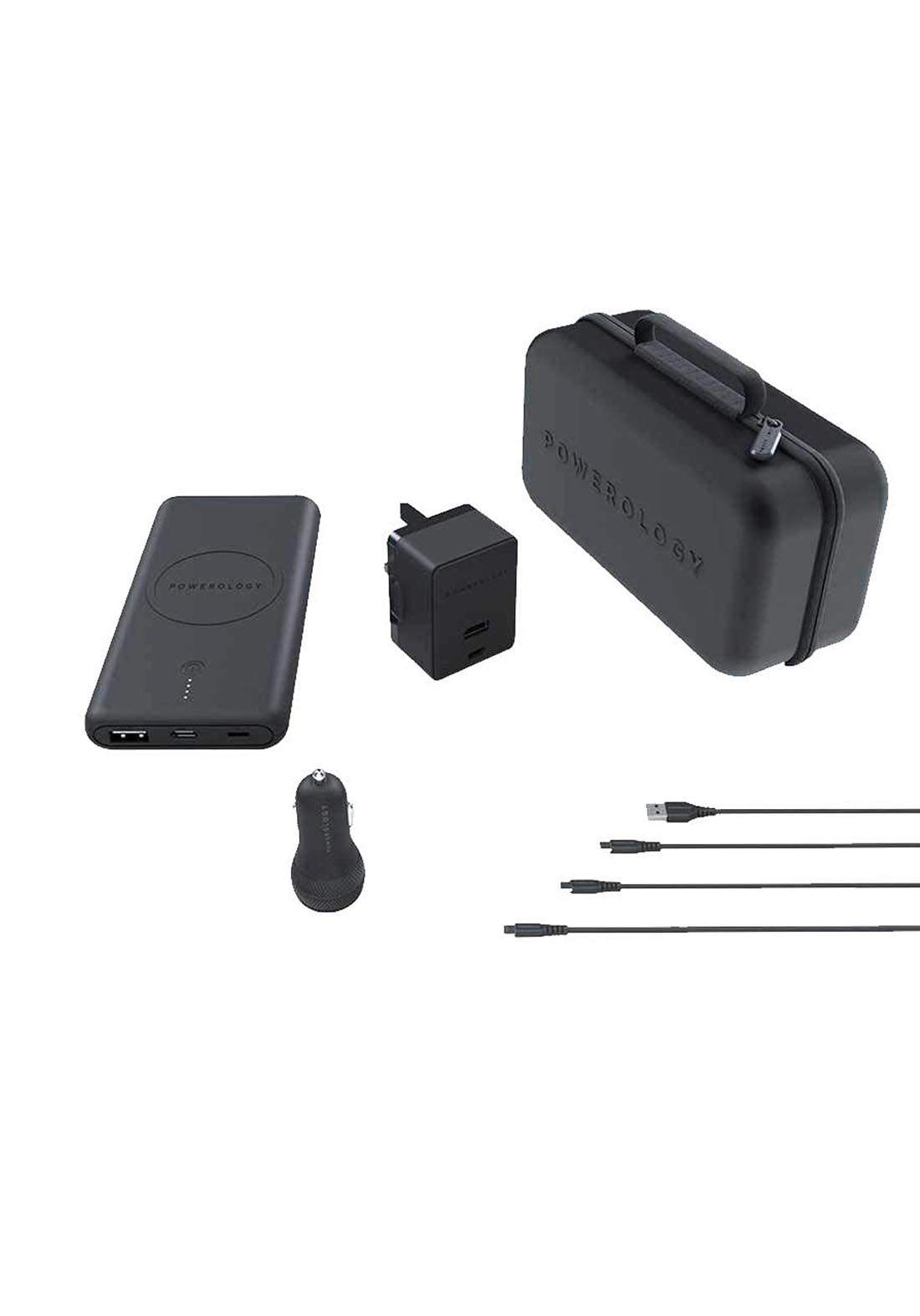 Powerology 8-in-1 Power Delivery Charging Combo - Black  حقيبة من مجموعة شاحنات