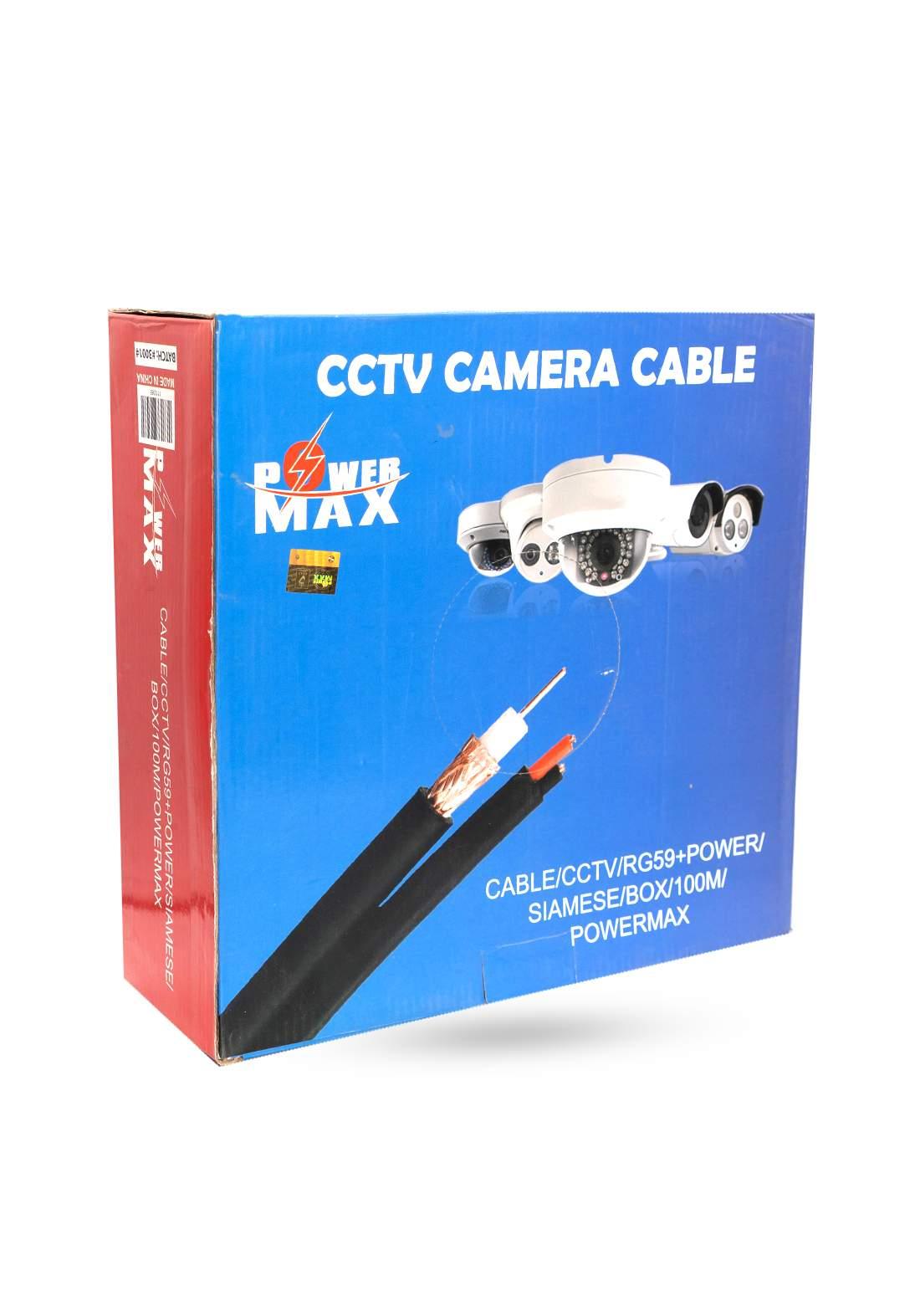 Power Max  CCTV RG59 and Power Siamese Cable 100M - Black كابل كاميرا