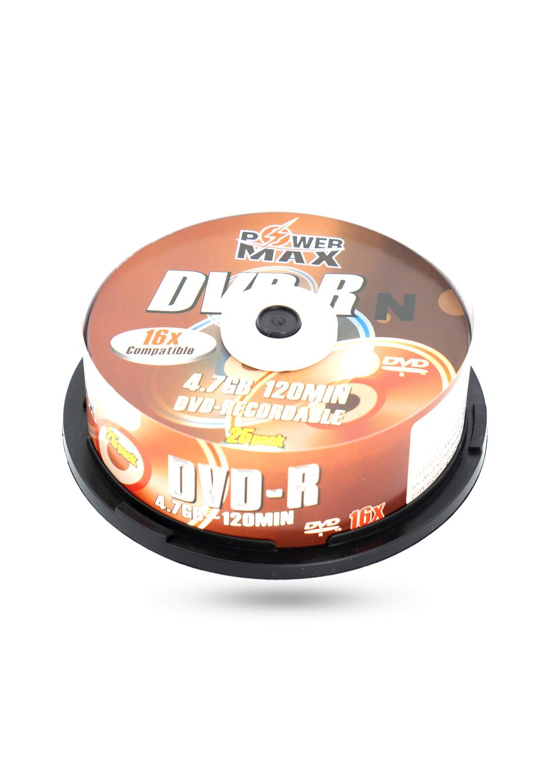 Power Max DVD-R 4.7MB/120 Minutes 16x Recordable Disc  - 25 Pack اقراص دي في دي ليزرية