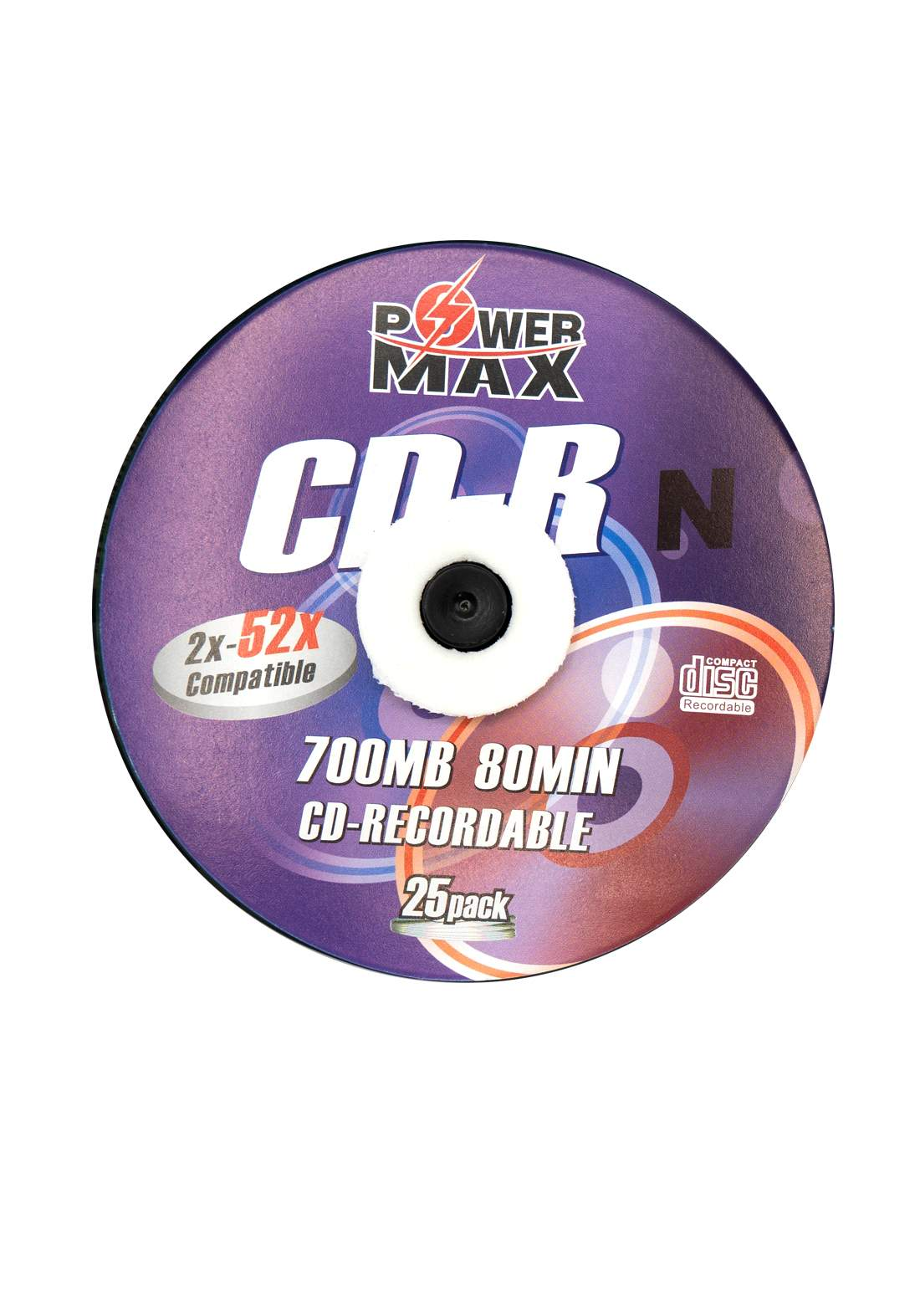 Power Max CD-R 700MB 80 Minute 52x Recordable Disc  - 25 Pack اقراص سي دي ليزرية