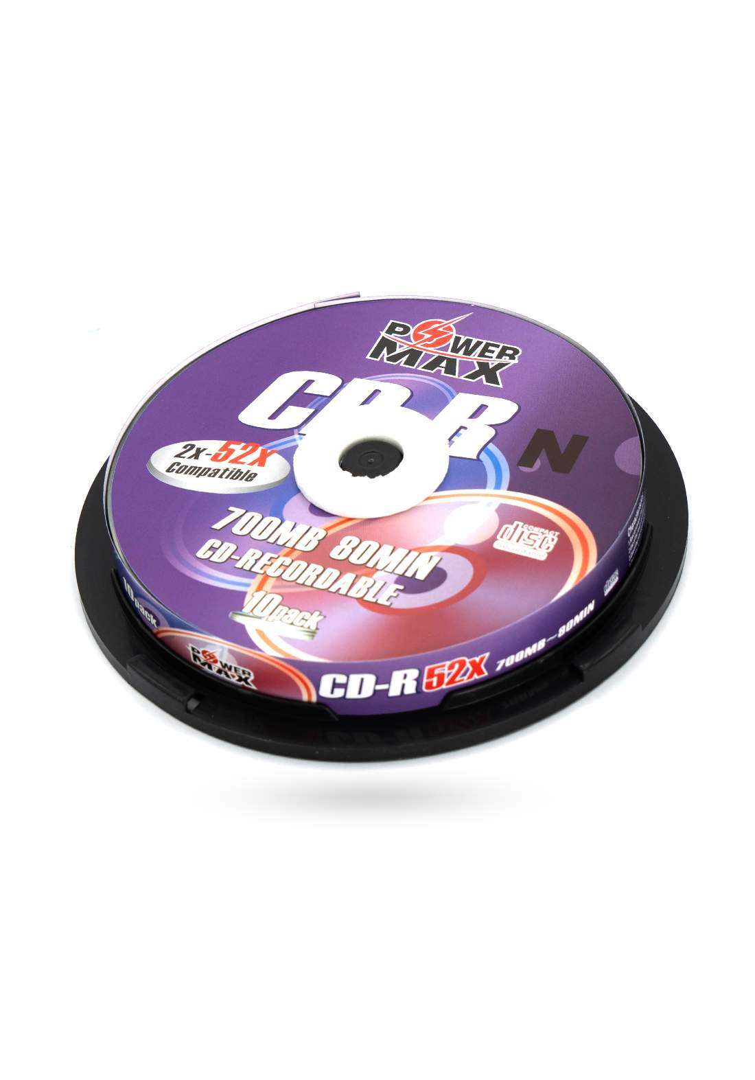 Power Max CD-R 700MB 80 Minute 52x Recordable Disc  - 10 Pack اقراص سي دي ليزرية