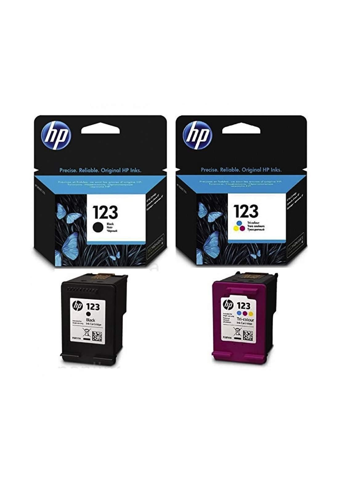 HP 123 2-pack Black/Tri-color Original Ink Cartridges Set  خرطوشة حبر
