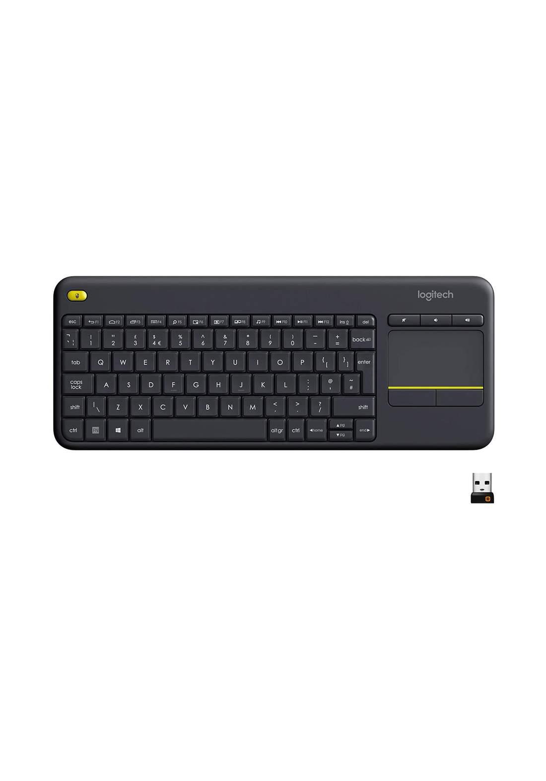 Logitech K400 Plus Keyboard Wireless With Touchpad - Black لوحة مفاتيح