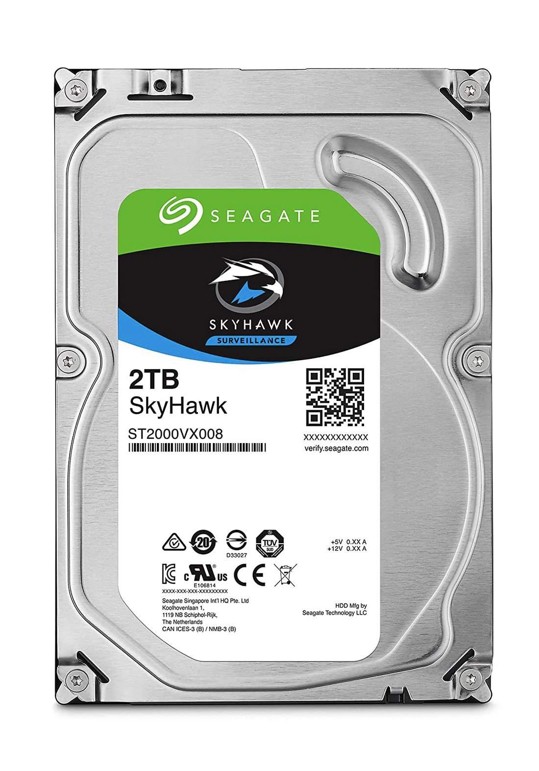 "Seagate SkyHawk 2TB Surveillance  3.5"" Internal Hard Drive - Silver هارد داخلي"