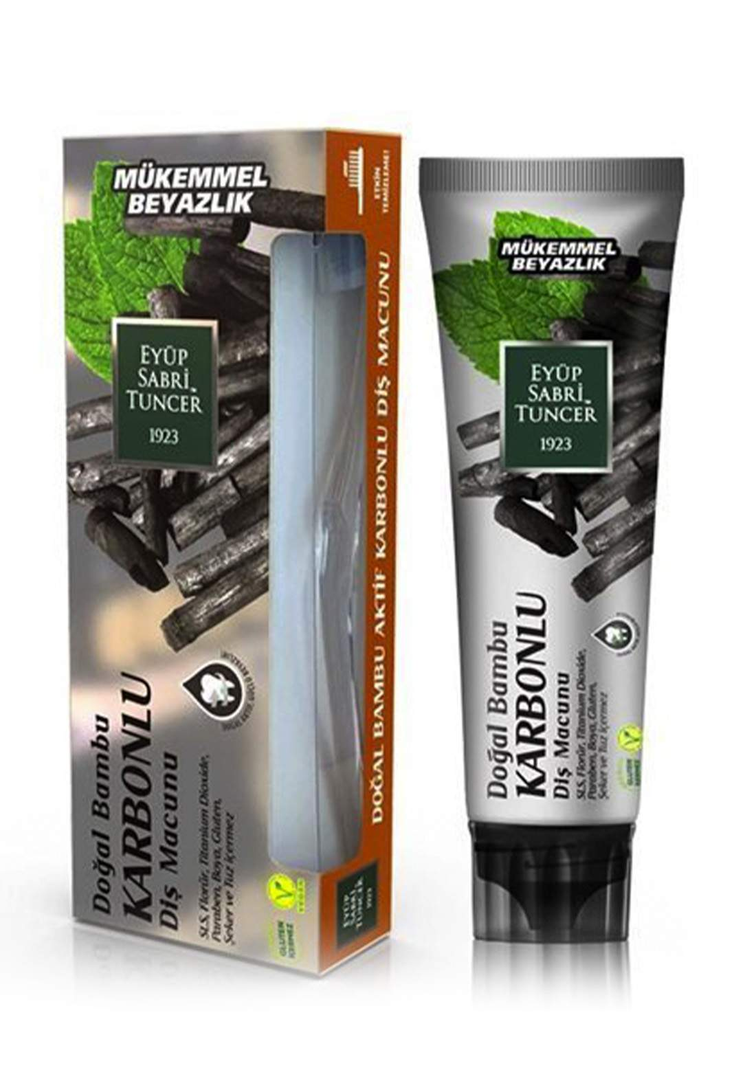 Eyup Sabri Tuncer Natural Bamboo Activated Charcoal Toothpaste 75ml  معجون أسنان بلفحم الطبيعي مع فرشاة
