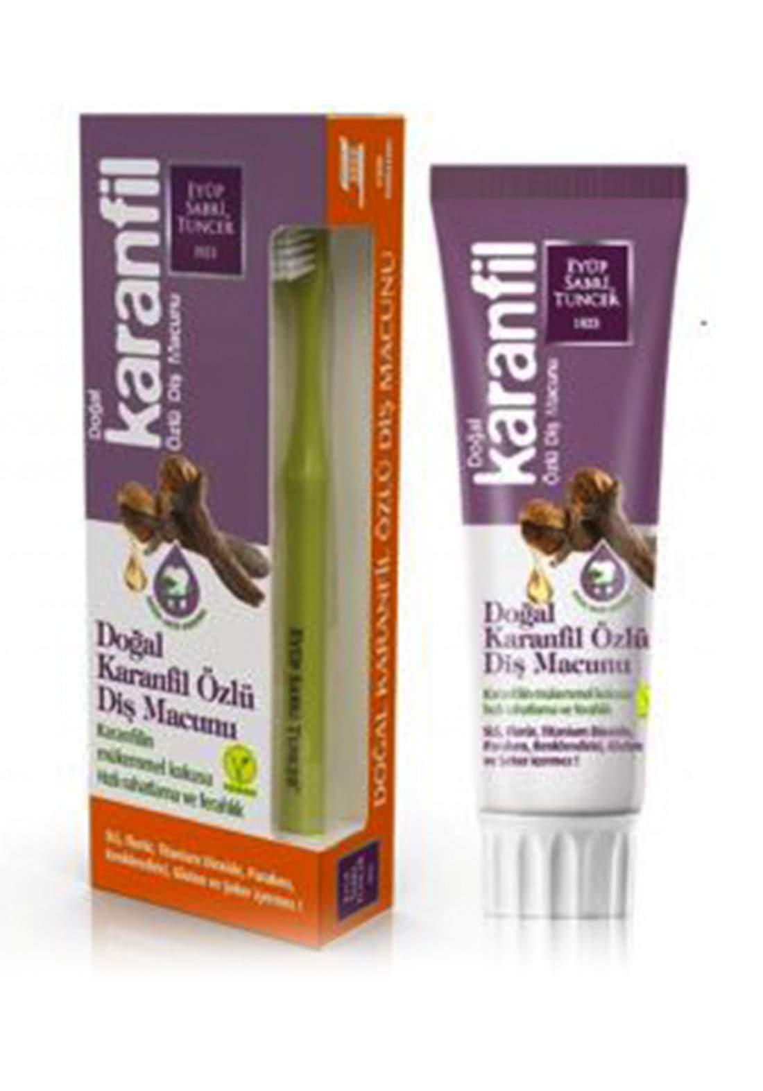 Eyup Sabri Tuncer Natural Clove Extract Toothpaste With Toothbrush 75ml معجون أسنان بالقرونفل مع فرشاة