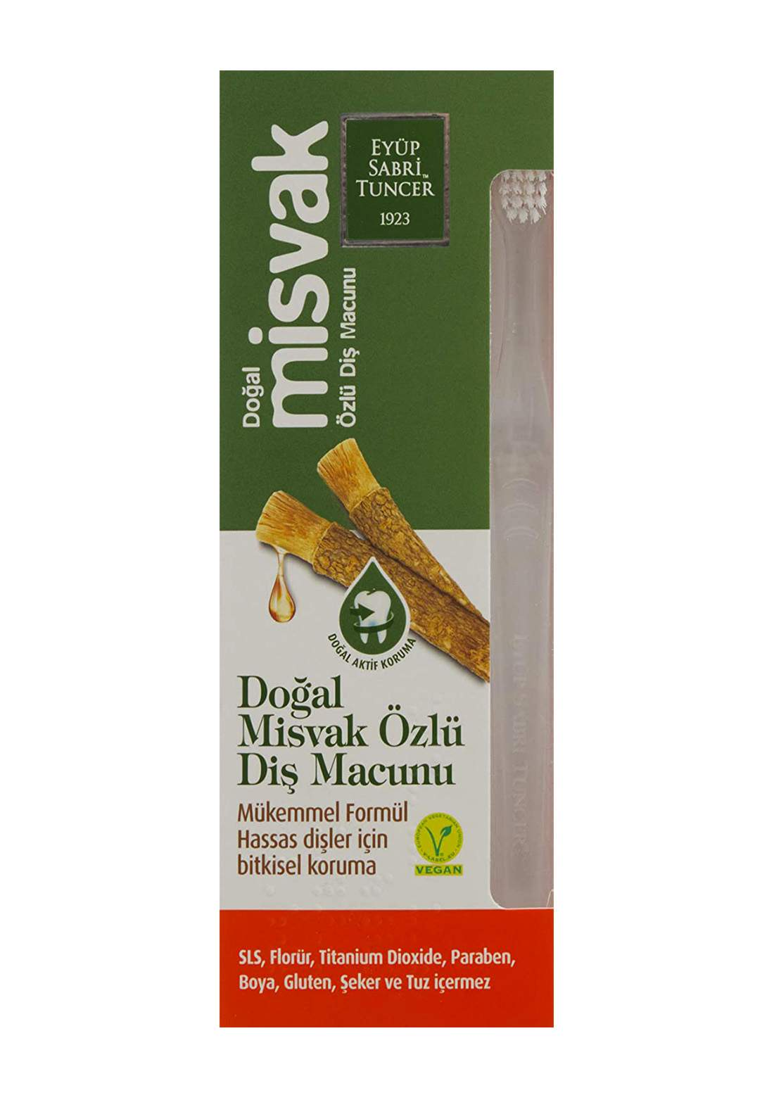 Eyup Sabri Tuncer Natural  Miswak Extract Toothpaste & Toothbrush 75ml معجون أسنان  بالمسواك مع فرشاة