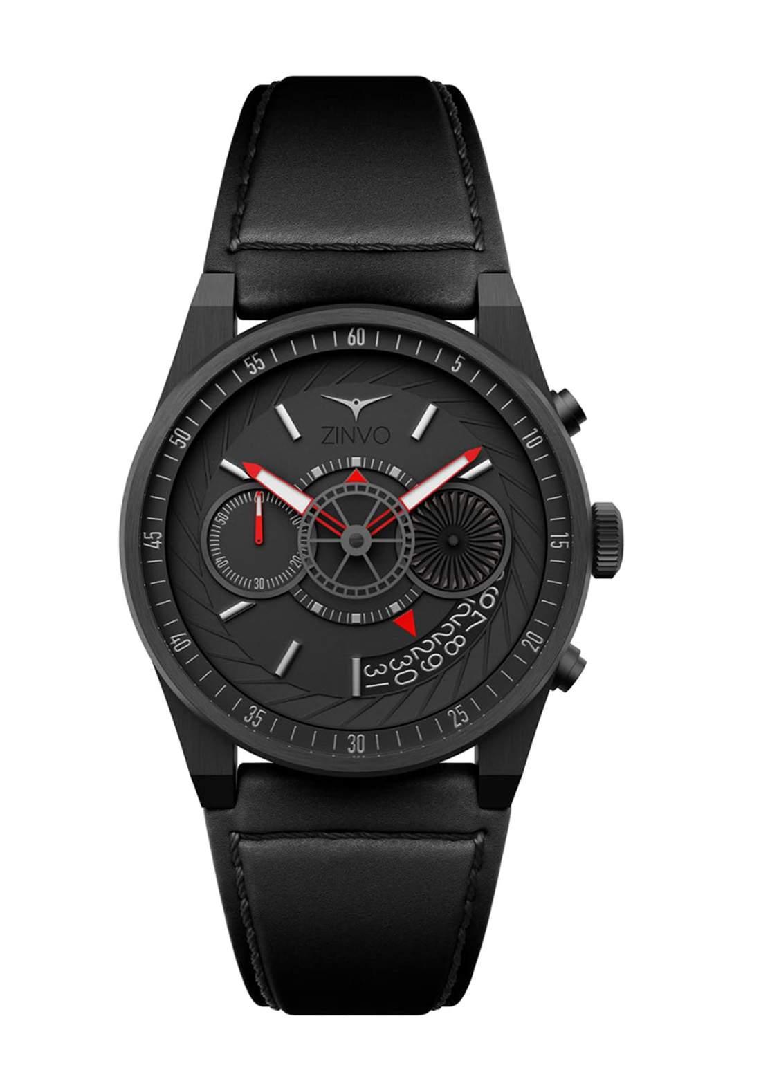 Zinvo Rival Chrono Gunmetal Watch For Men - Black  ساعة رجالي