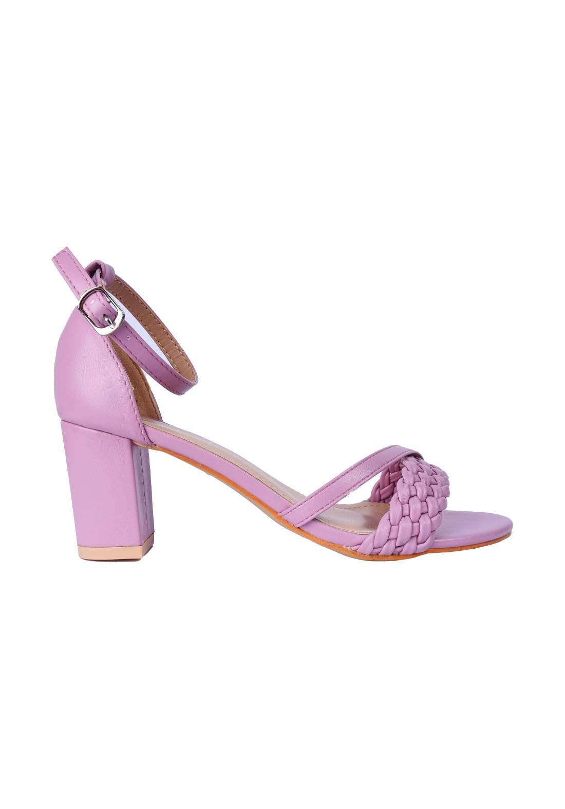 حذاء نسائي كعب 7 سم بنفسجي اللون