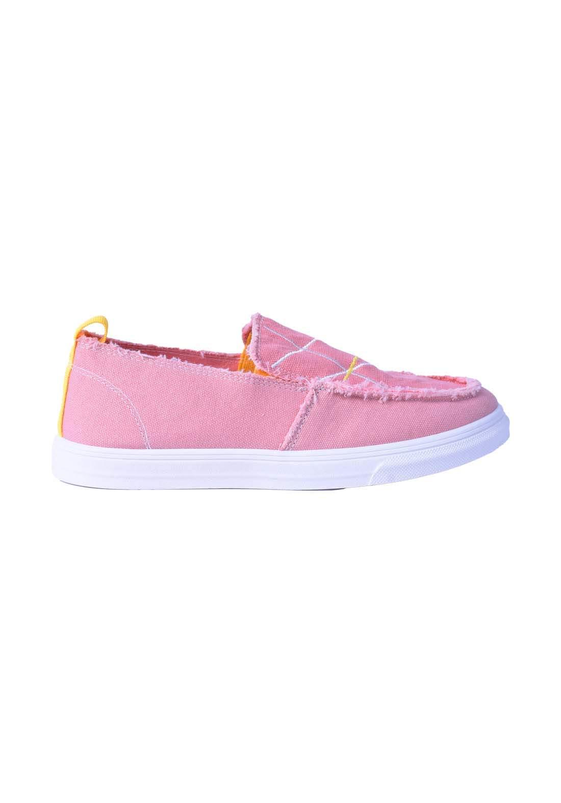 حذاء نسائي قماش وردي اللون