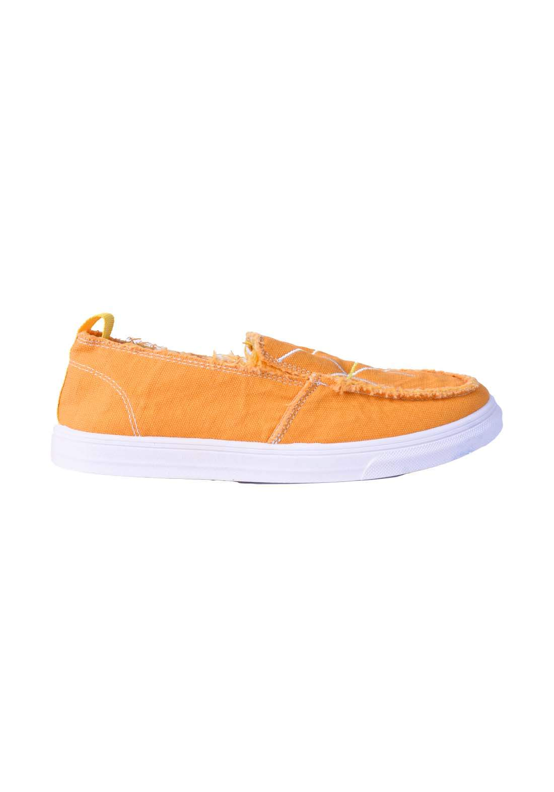 حذاء نسائي قماش اصفر اللون
