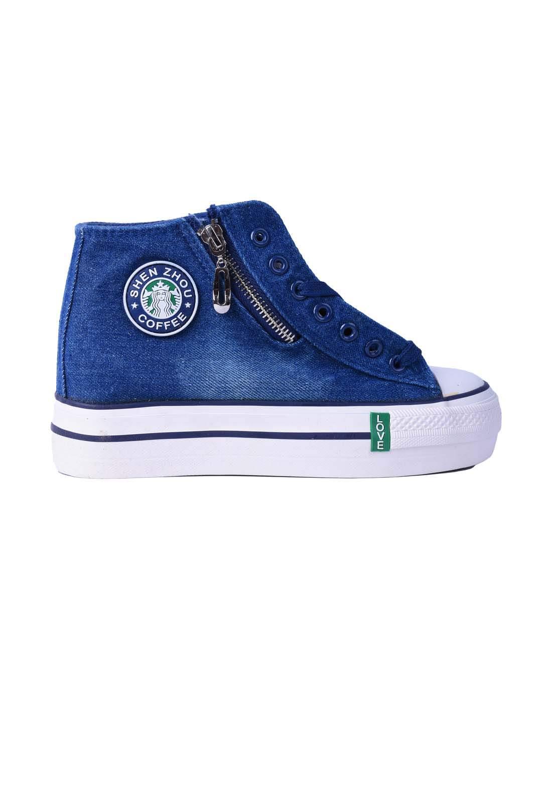حذاء نسائي جينز ازرق اللون