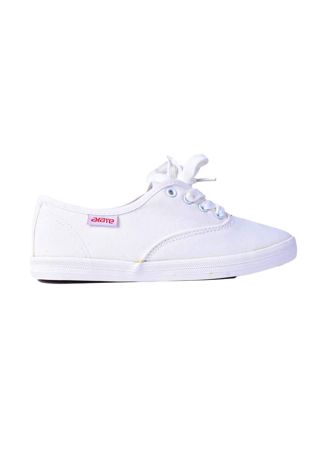 حذاء نسائي رياضي قماش ابيض اللون