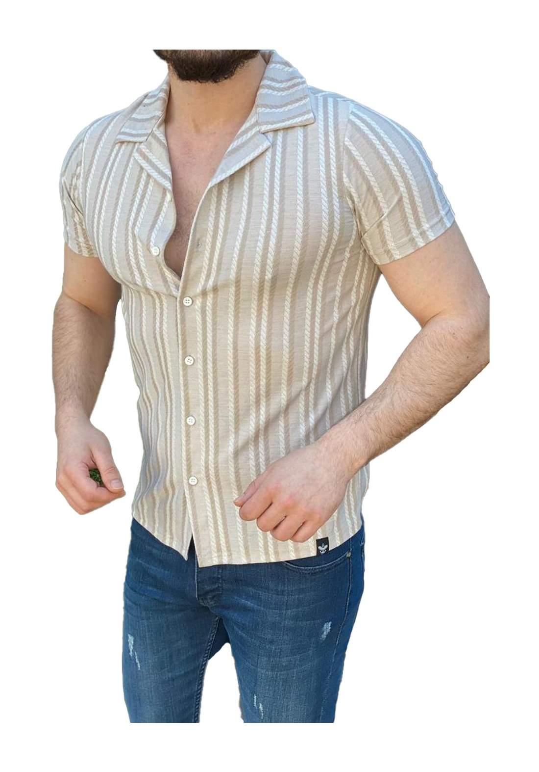 قميص رجالي بأكمام قصيرة بيجي اللون