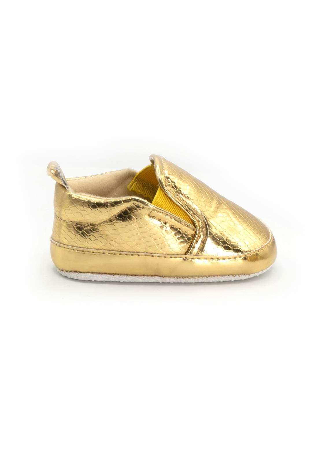 حذاء اطفال ذهبي اللون