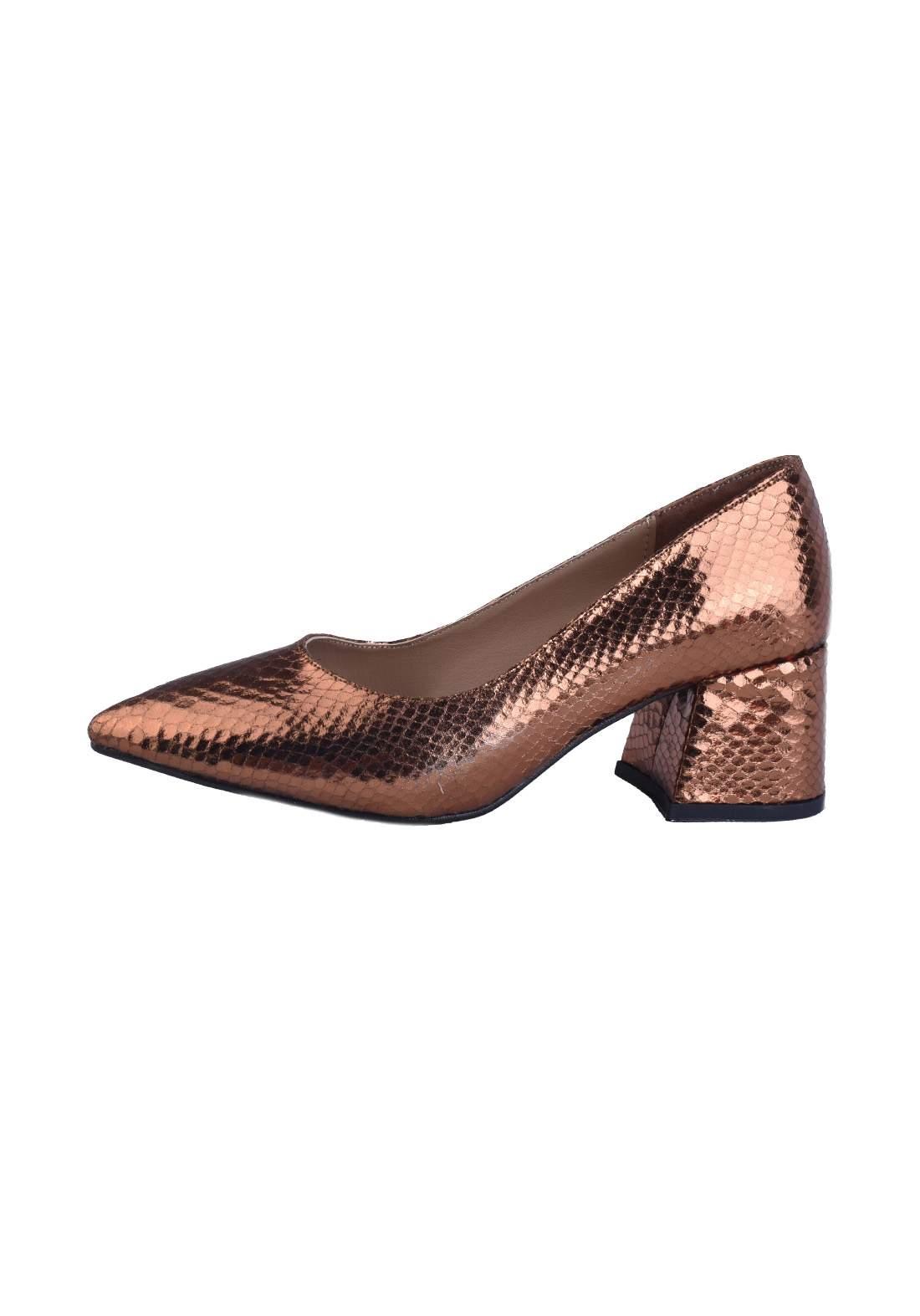 حذاء كعب نسائي برونزي اللون