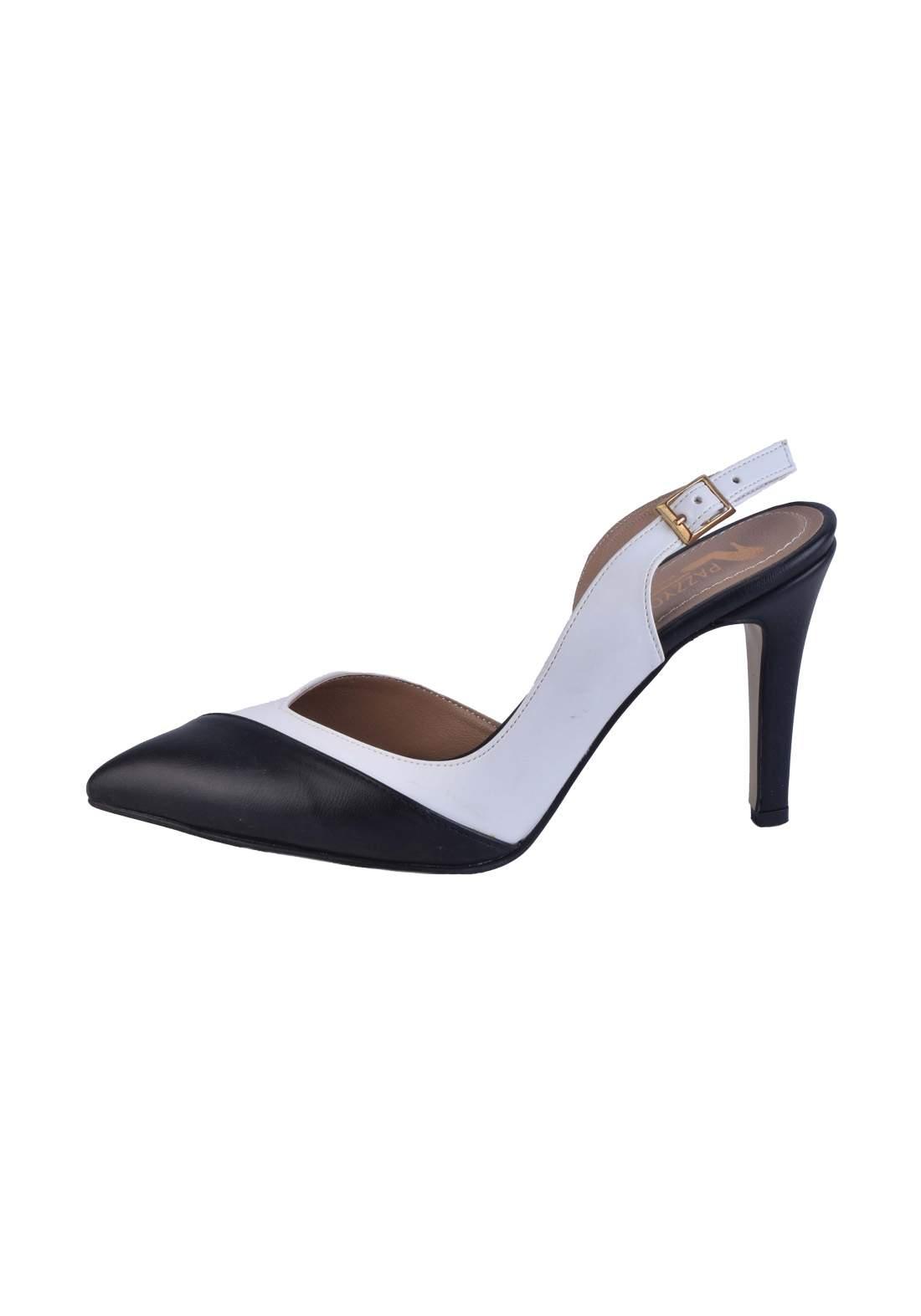حذاء كعب نسائي باللون الاسود والابيض