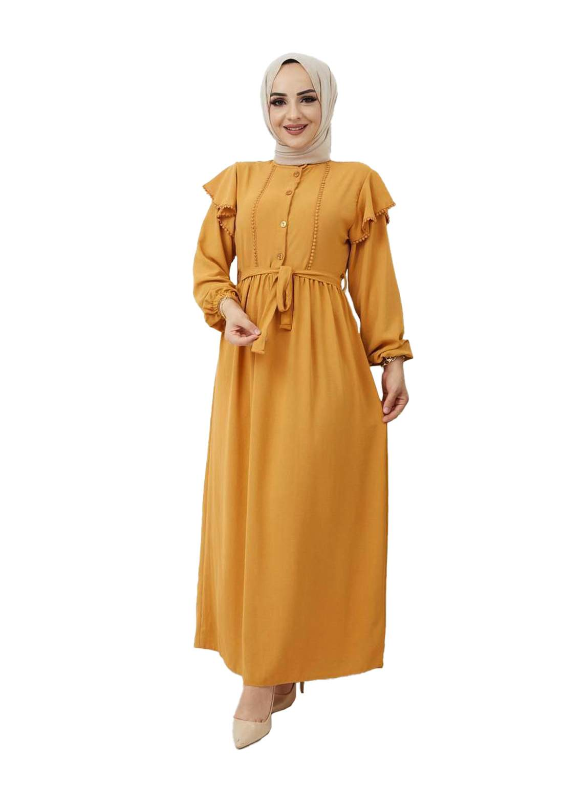 فستان نسائي طويل بيج غامق