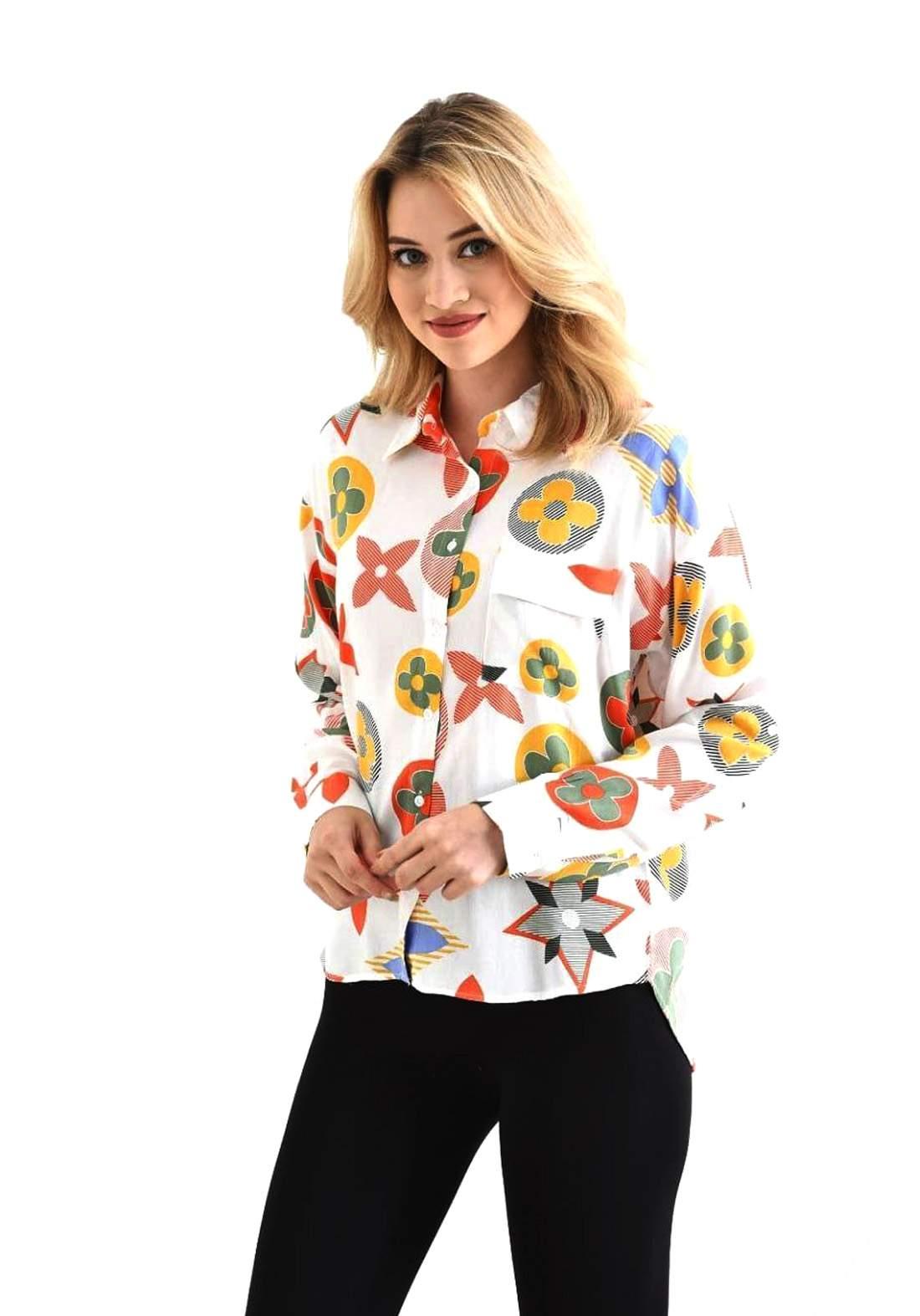 قميص نسائي متعدد الألوان