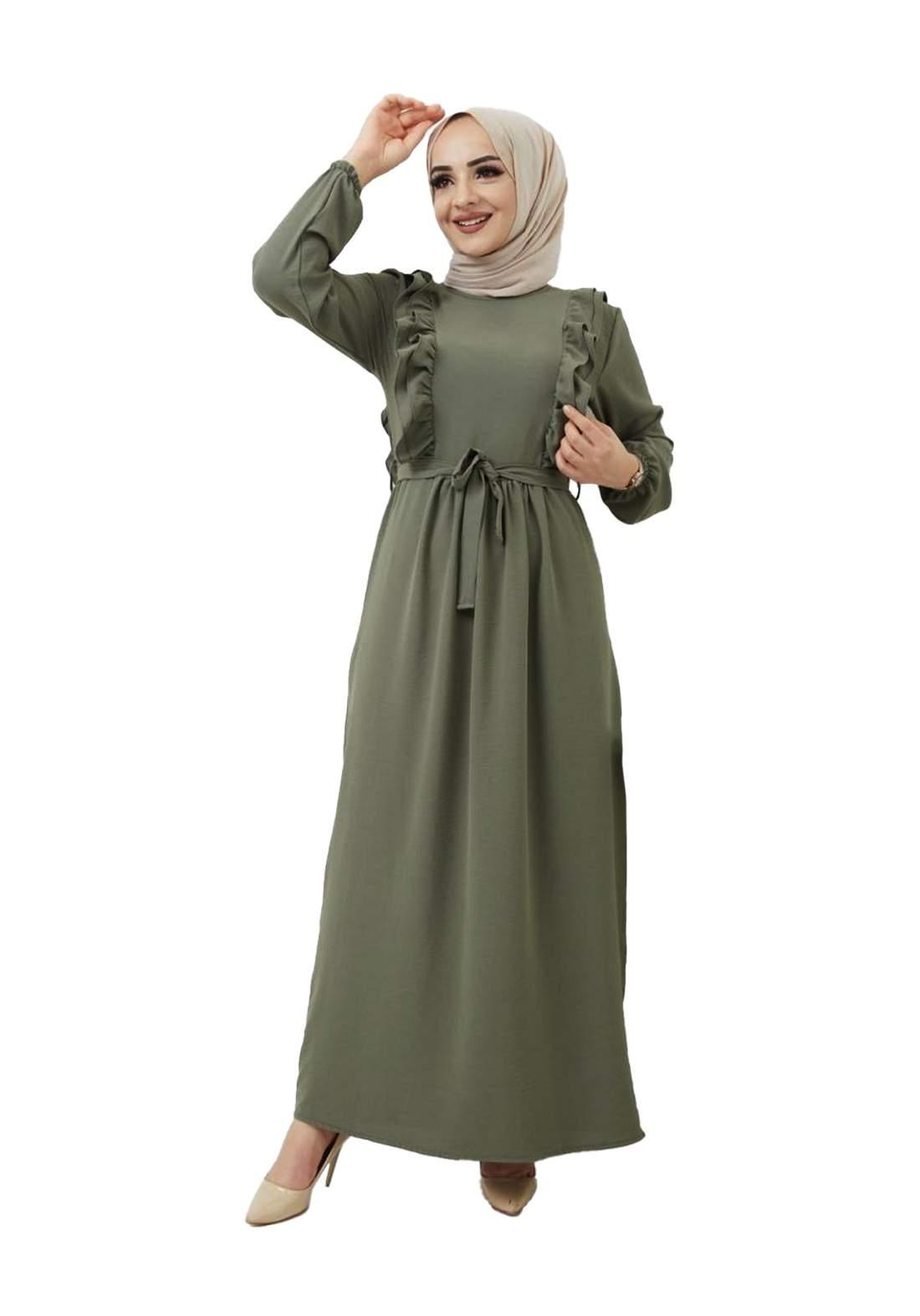 فستان نسائي طويل زيتوني أللون
