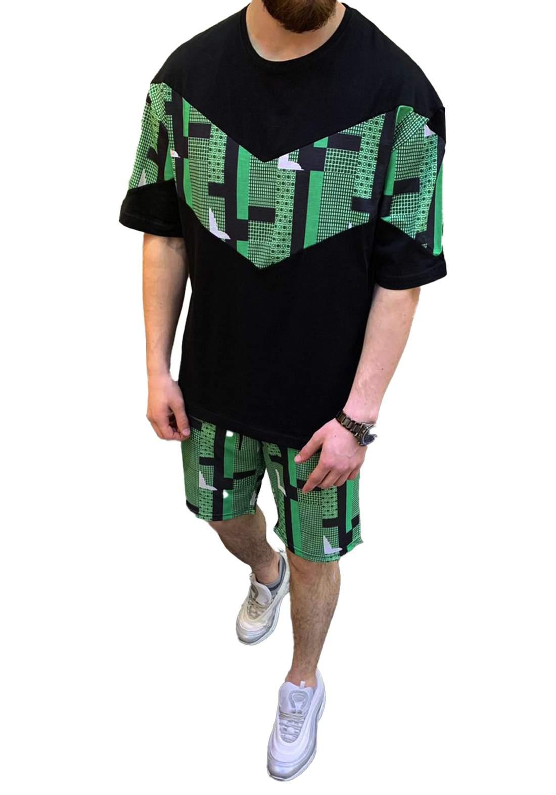 سيت شورت رجالي أسود وأخضر أللون