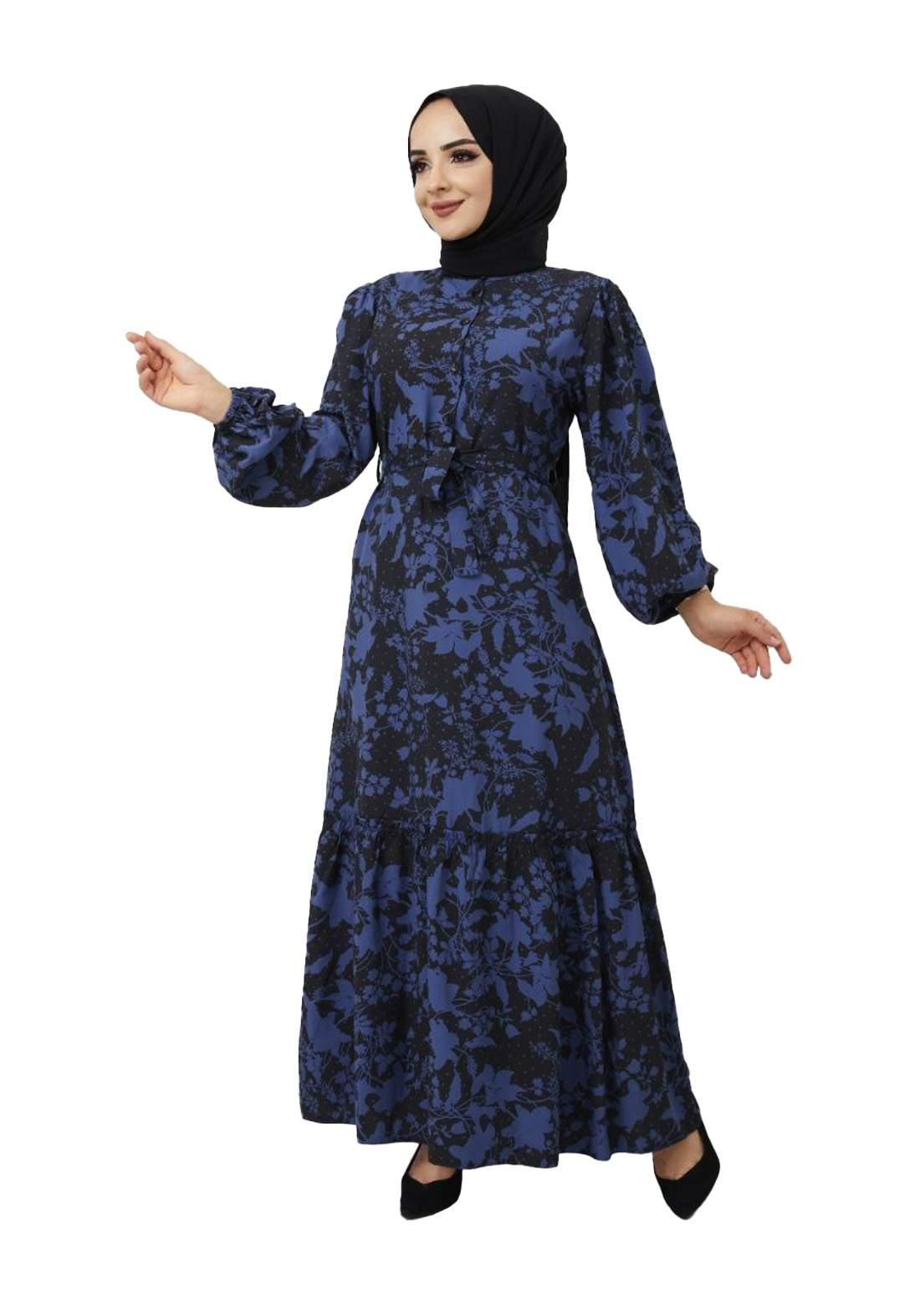 فستان نسائي طويل نيلي وأسود أللون