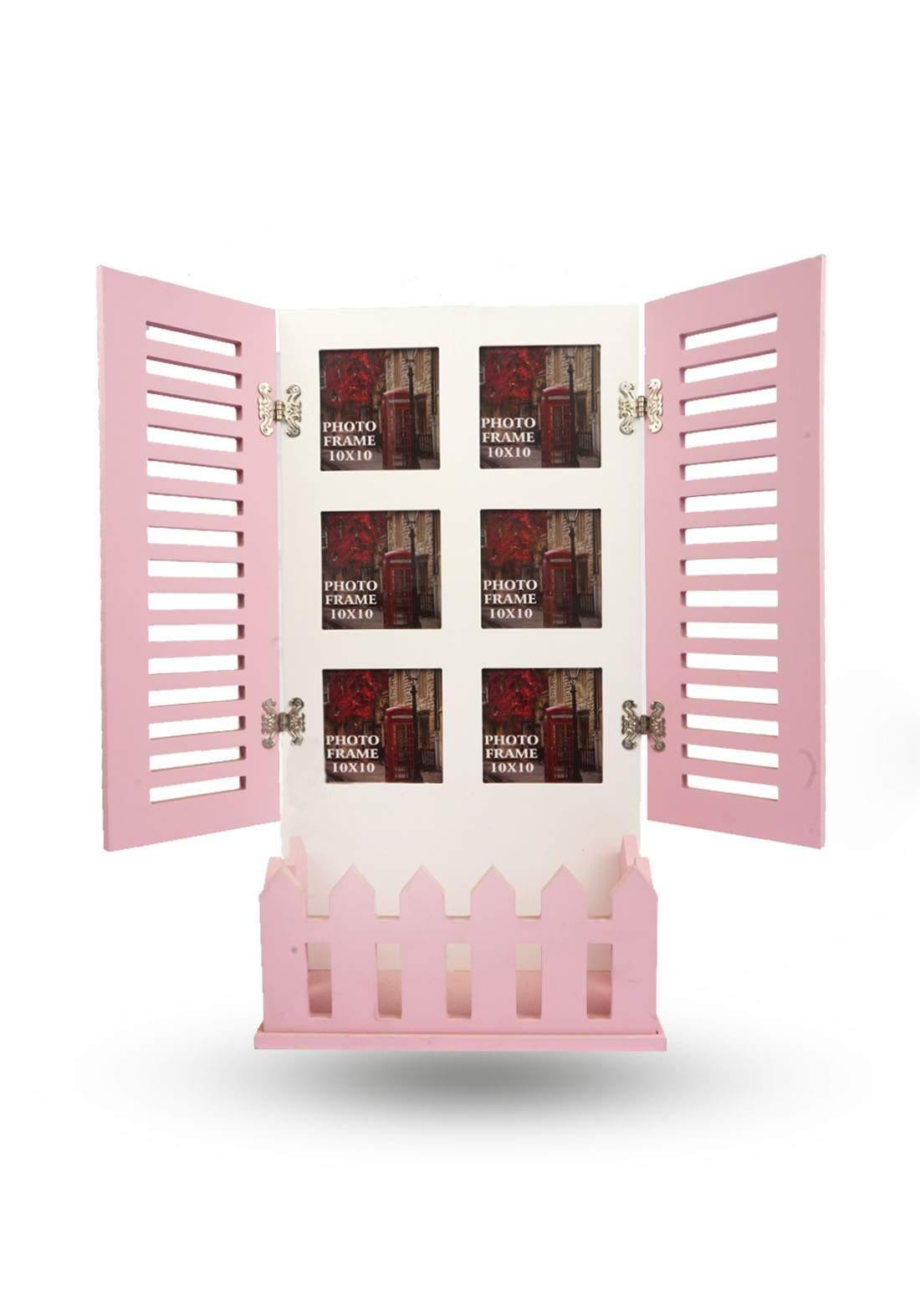 اطار صور بتصميم نافذة وردي اللون