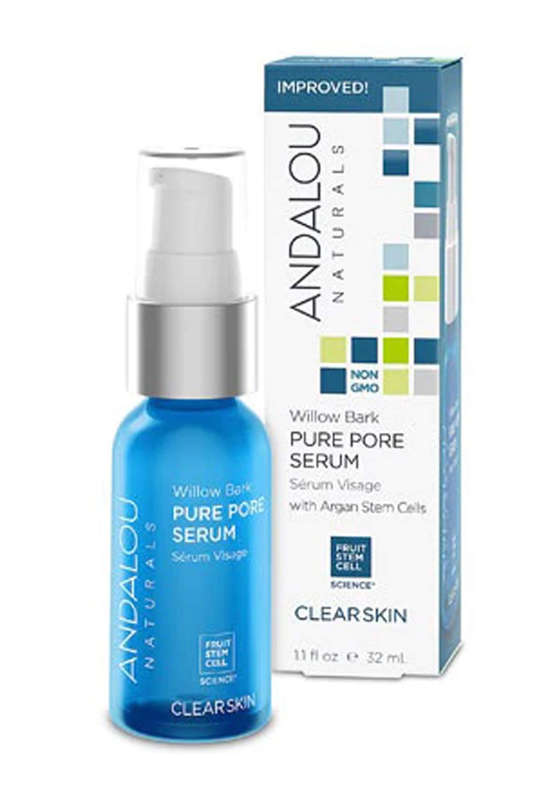 2553 Andalou Naturals Clear Skin Willow Bark Pure Pore Serum 32ml سيروم معالج للبشرة